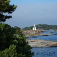Sailing boat in archipelago